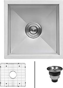 Ruvati 13 x 15 inch Undermount 16 Gauge Zero Raduis Bar Prep Kitchen Sink Stainless Steel Single Bowl - RVH7113