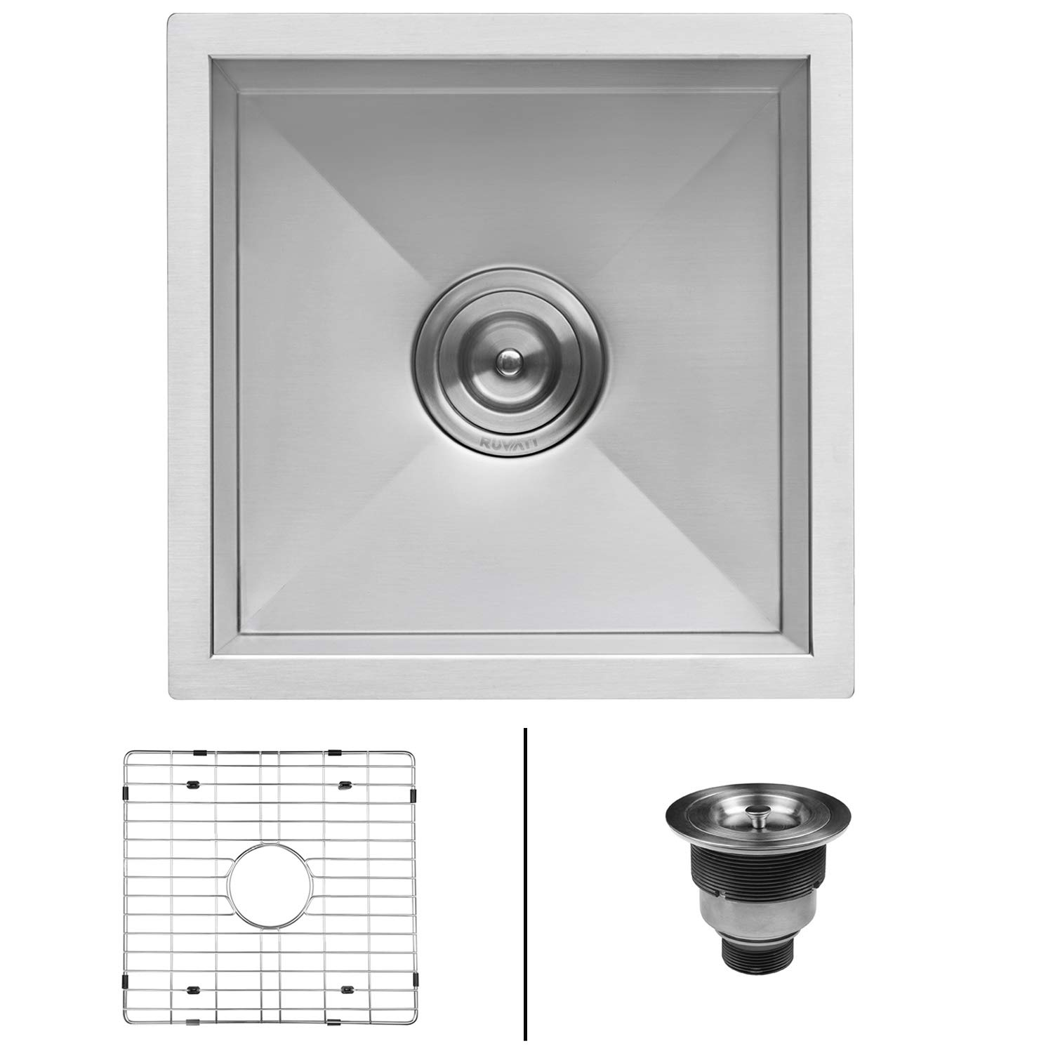 Ruvati 15 x 15 inch Undermount 16 Gauge Zero Raduis Bar Prep Square Kitchen Sink Single Bowl - RVH7115
