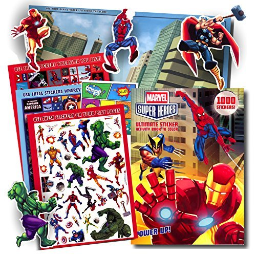 Marvel Super Heroes Stickers Coloring & Activity Book with Pop Art Reward Sticker ~ Over 1000 Super Hero Stickers ~ Captain America, Iron Man, Hulk, Thor, Wolverine, Spiderman, Black Widow, and More!