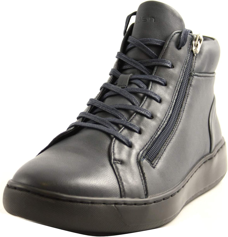 Calvin Klein B4F1165 Dark Navy - Zapatillas Altas para Hombre, de Piel, Color Azul Oscuro
