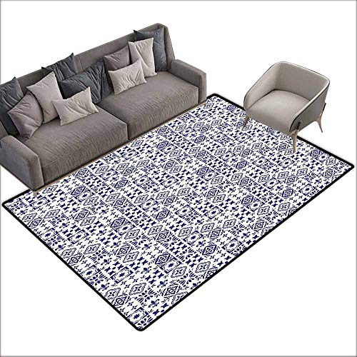 Office Chair Floor Mat Foot Pad Indigo and White,Geometric Pattern Portuguese Azulejo Design Tile Square Abstract Pattern,Indigo White 80