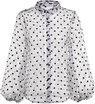 Mujer Otoño Camiseta, Sexy Transparente Blusa de Lunares Moda ...