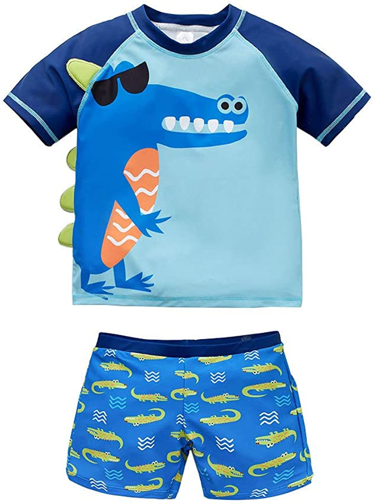 2 Pieces Swimsuit Little Kid Toddler Baby Boys Swimwear Cartoon Dinosaur//Shark T-Shirt Tops+Shorts Tankini Bathing Suit