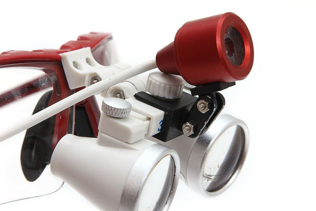 Careshine USA!Dental Surgical Binocular Loupes 3.5X Optical Glass420mm+LED Head Lamp light RED
