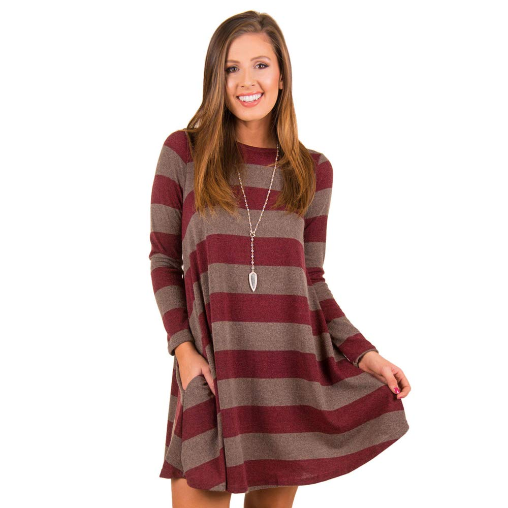 04wine Red fancymano Womens Classic Wide Stripes Long Sleeve Elastic Loose Mini Dress Yellow
