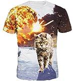 Wiboyjp メンズtシャツ リアル プリント 猫 ネコ 3d ヒップホップ メンズ 3D 春 夏 猫柄 ストリート トレンド スウェット t shirt 3dtシャツ 半袖tシャツ サマー