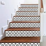 Anglewolf 3D Simulation Stair Stickers Waterproof Wall Diy Home Decor Tiles For Kitchen Stairs Bathroom Tile Decals Backsplash Staircase Decoration(C 6)
