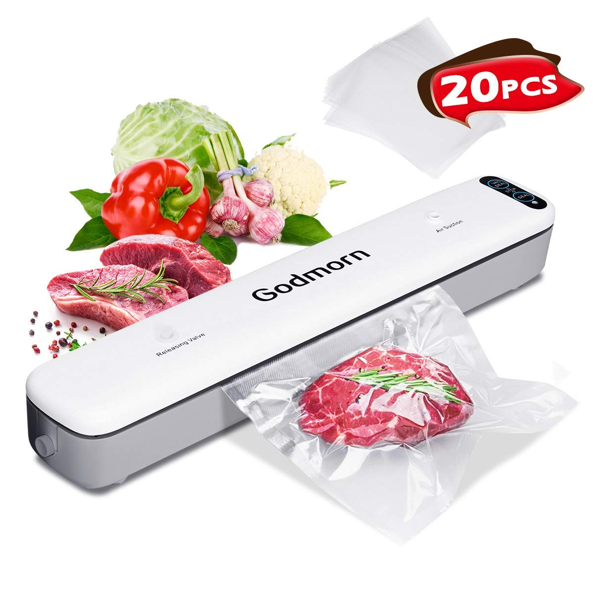 Vacuum Sealer Machine Food Godmorn Foodsaver Dry / Wet Moist, One-Touch Automatic Hands-free, 12 Seal Width Doubel-Mode Vacuum Packing Machine with 20Pcs BPA-Free Seal Bags and Vacuum Canister Hose for Meat, Vegetables, Fruit , Jewelry Storage Ovemiliya