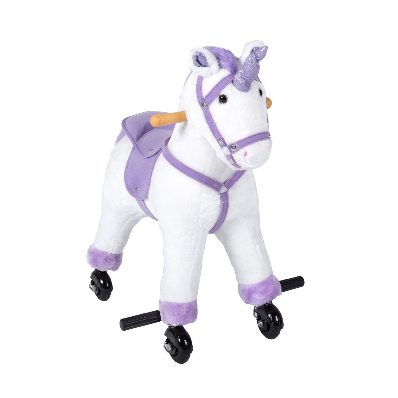 Kinbor Rocking Horse Plush Kids Baby Girls Boys Pony Rocking Horse Unicorn Ride on Toy Walking Horse Children's Day Birthday Gift with Wheels & Neigh Sound