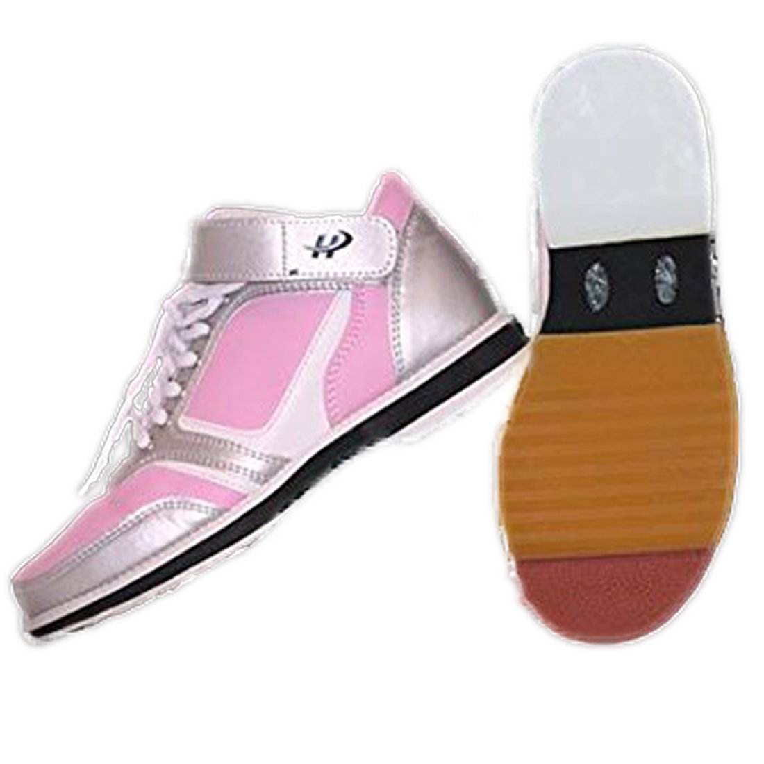 Women's High Top Bowling Shoe For Right Handed Bowler, Rubber Bottom, Foam Padded Tounge & Collar, unique style - Pink and Silver | Size 8