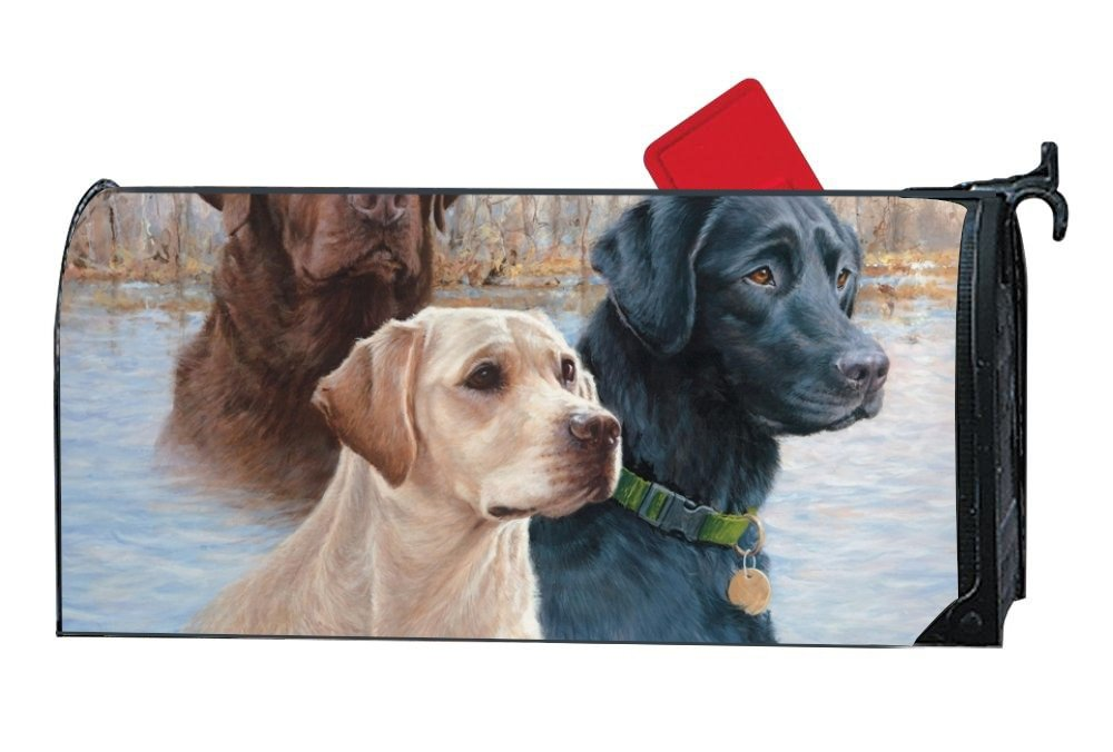 Dimanzo Magnetic Mailbox Cover - Spring Themed Welcome Home Mailbox Wrap with Decorative Labrador Retrievers, Standard Sized,17.25 x 20.75 Inches