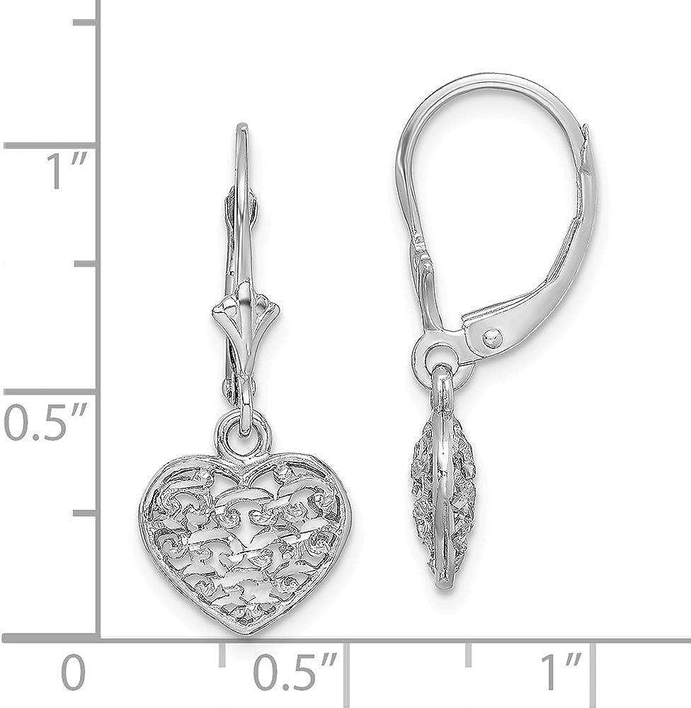 Lex /& Lu 14k Yellow Gold Rhodium-plated Textured Heart Leverback Earrings