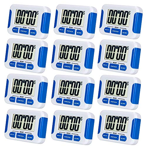 12 Pack Digital Kitchen Timer Magnetic Back and Retractable Stand Minute Second Count Up Countdown Kid Clock ()