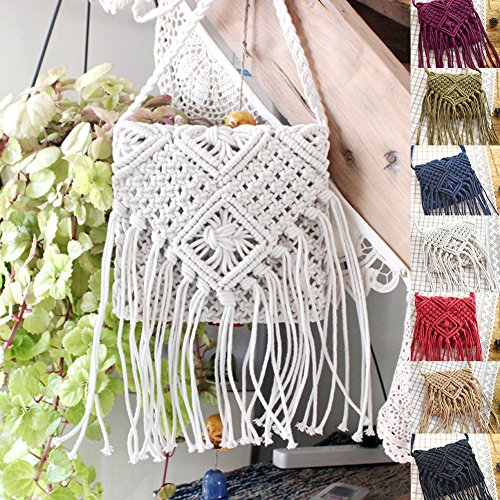 Back -to-school Necessity,Women Girls Fringed Crochet Shoulder Bag Hollow Out Woven Tassel Bag Bohemian Beach Cross Body Bag Blue