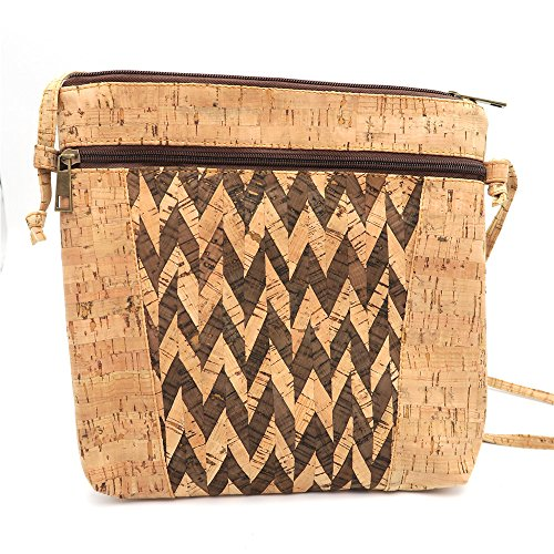 Woman with Natural MB Color in Original Stripes B Design Pattern Handmade Bag 015 Cork Cork Cork Messenger Natural F1xqqw0gp5