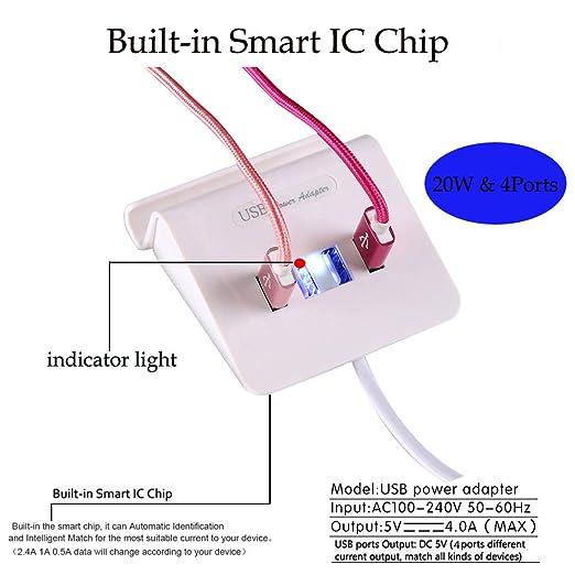 amazon com osxoabb 4 port usb wall charger with smart ic technology rh amazon com