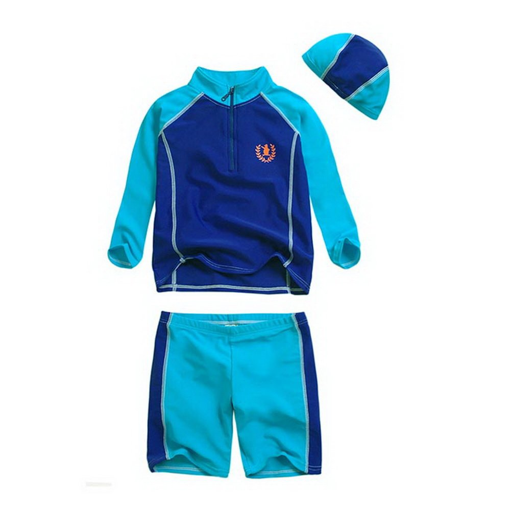 Boys Patchwork Swimwear Two Pieces, Long Sleeve, 10T, 6-7 Years Old, Blue PANDA SUPERSTORE PS-SPO2420245011-EMILY00889