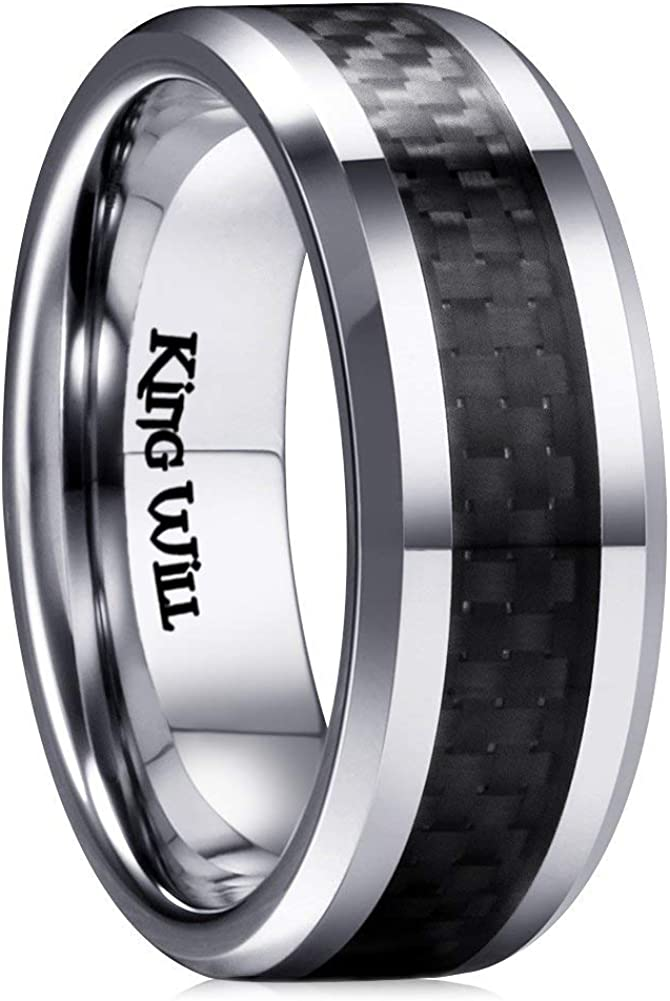King Will Gentleman 7MM Mens Black Carbon Fiber Titanium Ring Wedding Band Comfort Fit Beveled Edge
