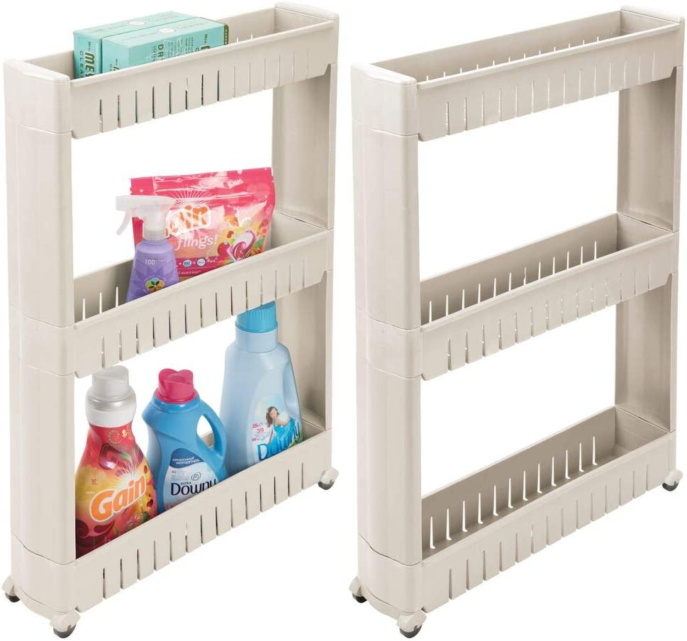 mDesign Portable Slim Plastic Rolling Laundry Utility Cart, Storage Organizer Trolley - Easy-Glide Wheels and 3 Heavy-Duty Shelves, for Laundry, Utility Room, Kitchen or Pantry Storage - 2 Pack -Taupe