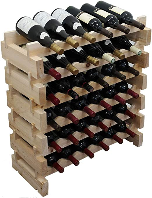 Details about  /woodluv Bamboo Stackable Wine Rack Stand Holder