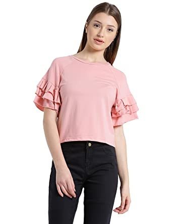 3fa096fb78adc MANOLA Tops for Women in Western wear - Cotton Blend Material - Solid  Pullover Tops for Ladies - Women s Peach Bell Sleeves Top - Stylish Tops by  for Ladies ...