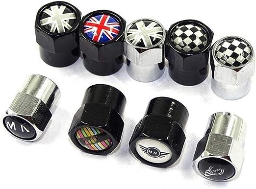 Accessori Auto 6 angoli della rotella della gomma parti della valvola protezioni del gambo copertura for Mini Cooper Countryman Clubman R55 R56 R60 F54 F55 F56 F60 Color : Black A