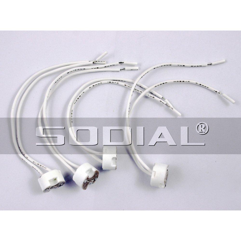 SODIAL(R) 4 Pcs MR-11 MR-16 Spotlight Heat Resistant Round Lamp Socket White