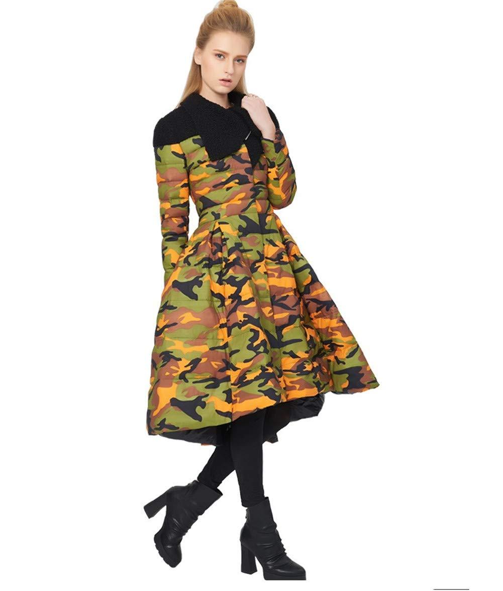 C Women's Winter Down Jacket, Fashion Long Down Coat,A,XL