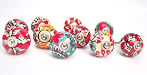 Karmakara Ornate Red Floral Ceramic Knobs For Cabinets & Cupboards - Hand Painted Pulls