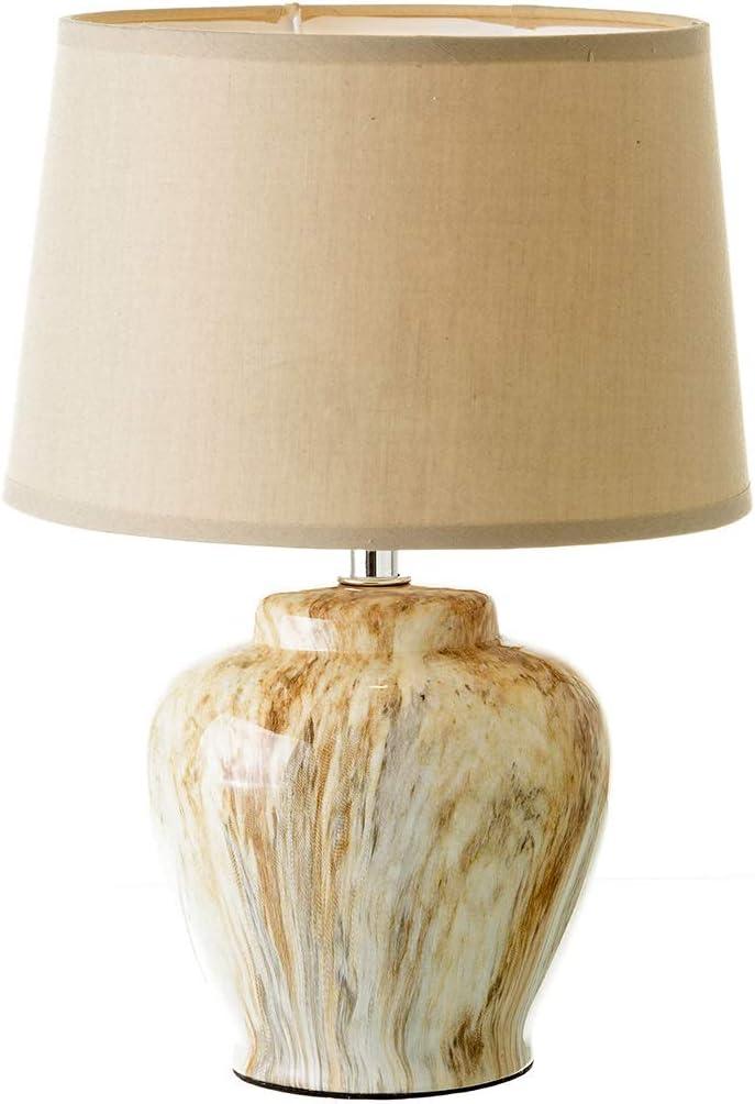 Lámpara de mesita de noche clásica beige de cerámica para ...