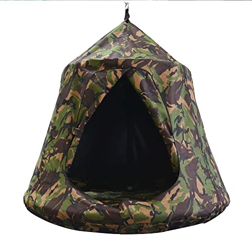TopEva Waterproof Hanging Tree Ceiling Hammock Tent Kids Sky Castle Paradise with Led Decoration Lights Army Green