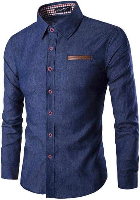CUIAIDING Camisa Camisa de Vestir de Cuero de Bolsillo de botón de Moda para Hombres Camisas de Hombre de Manga Larga Slim Fit: Amazon.es: Deportes y aire libre