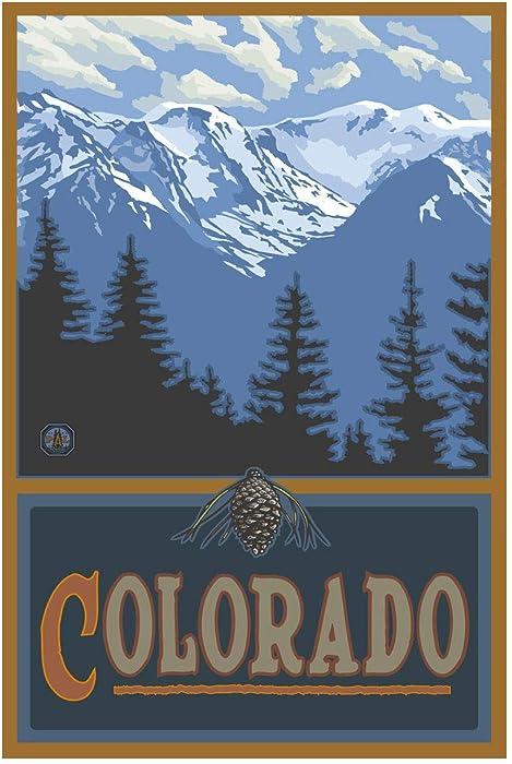 "Colorado Snowy Mountain Ridges Giclee Art Print Poster from Original Travel Artwork by Artist Paul A. Lanquist 12"" x 18"""