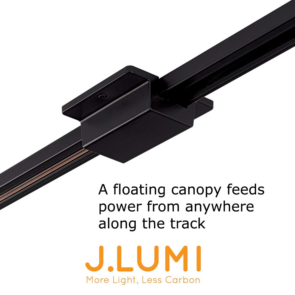 J.LUMI RAC6006 Floating Canopy Connector for Halo Track Light Rails, for use with J.LUMI RAL3002 Track Rails, Rigid Aluminum Channel in Black Finish, UL Listed