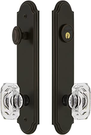 Grandeur Hardware 839333 Arc Tall Plate Complete Entry Set With Baguette Clear Crystal Knob Backset Size 2 375 Timeless Bronze