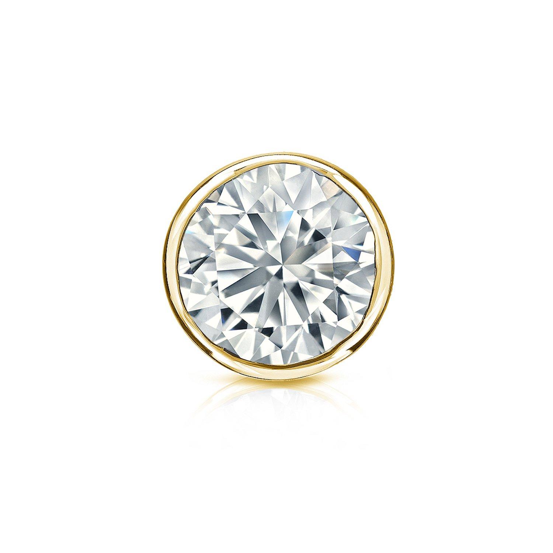1//8-1ct, O.White, I2-I3 Screw-Back 18k Yellow Gold Bezel-set Round Diamond Mens SINGLE STUD Earring
