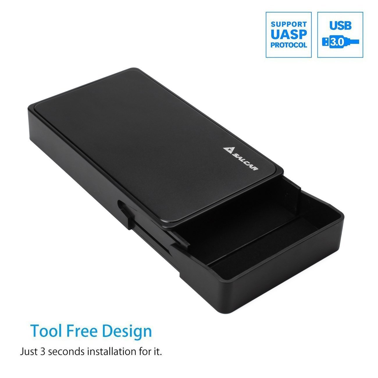 Salcar USB 3.0 Hard Disk Drive Enclosure for 3.5 Inch SATA HDD and SSD External Hard Drive Enclosure HDD Case Support UASP