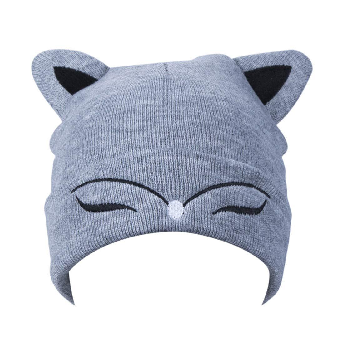 Woman Knitted Hat Wool Cotton Cuff Beanie Hat Ski Cap Spring Autumn Girls Hats