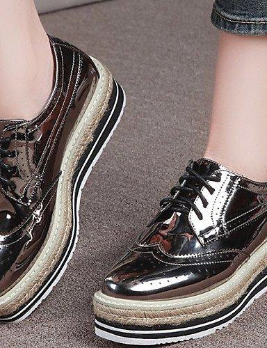ZQ hug Zapatos de mujer - Plataforma - Creepers - Tacones - Oficina y Trabajo / Vestido / Casual / Fiesta y Noche - Cuero Patentado - Negro / Oro , golden-us8 / eu39 / uk6 / cn39 , golden-us8 / eu39 / black-us6 / eu36 / uk4 / cn36