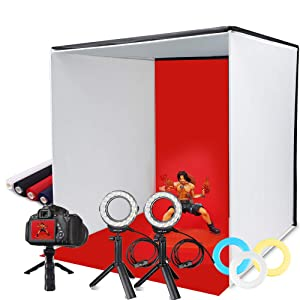 SAMTIAN Photo Light Box, Portable 16x16 Inches Photography Studio Light Box Shooting Tent TableTopPhotographyLightingKit FoldableCubewith 4 Backdrops 3 Color Filters Phone Clip for Photography
