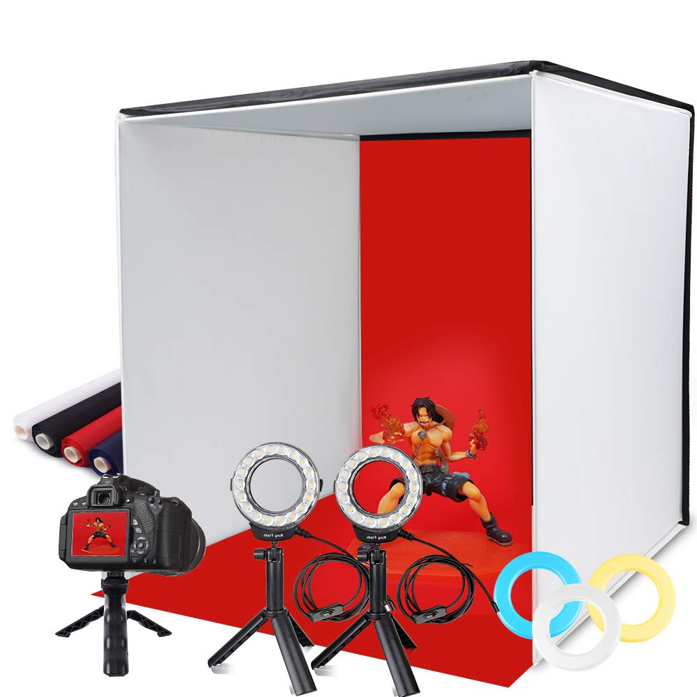 Photo Light Box, SAMTIAN Portable 16x16 Inches Photography Studio Light Box Shooting Tent Kit with 4 Backdrops 3 Color Filters Phone Clip for Photography, Product Advertising