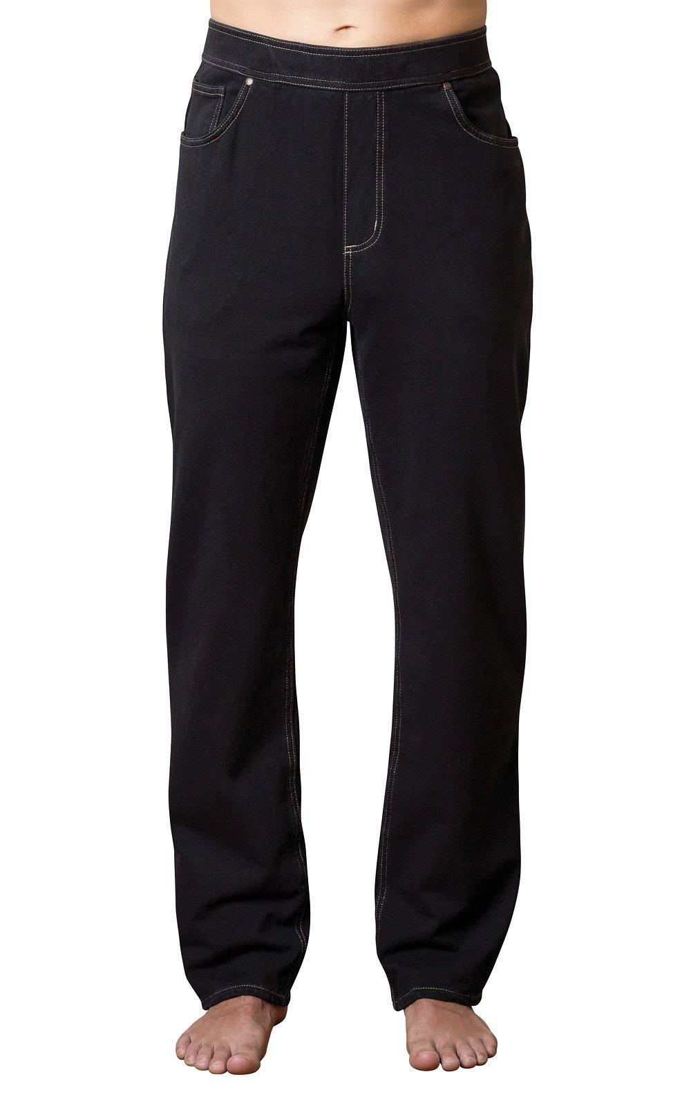 PajamaJeans Men's Straight Leg Knit Denim Jeans, Black, Medium by PajamaJeans