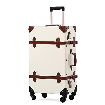 2d36a73af9c5 Unitravel Vintage Suitcase Retro PU Trunk Rolling Spinner Lightweight  Luggage