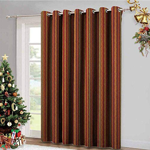 (Oriental Pole Wearing Gromets Curtain Window Drapes 2 Panel , African Folklore Geometric Motif with Rhombuses and Lines Ornamental Floral Design Decorative Darkening Curtains, Multicolor, W120 x)