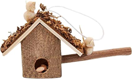 Dolls House Unfinished Natural Wood Bird House Box Miniature Garden Accessory