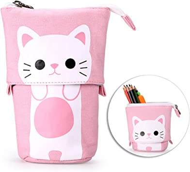 Sac /à Crayon Trousse de Stylo Cartoon Telescopic Stand Up Crayon Case Pen Bag Mignon Animal Bureau /Étudiant Papeterie Sac Cosm/étique Organisateur Pochette (Pink) Modaka 2-in-1 Trousse Scolaire