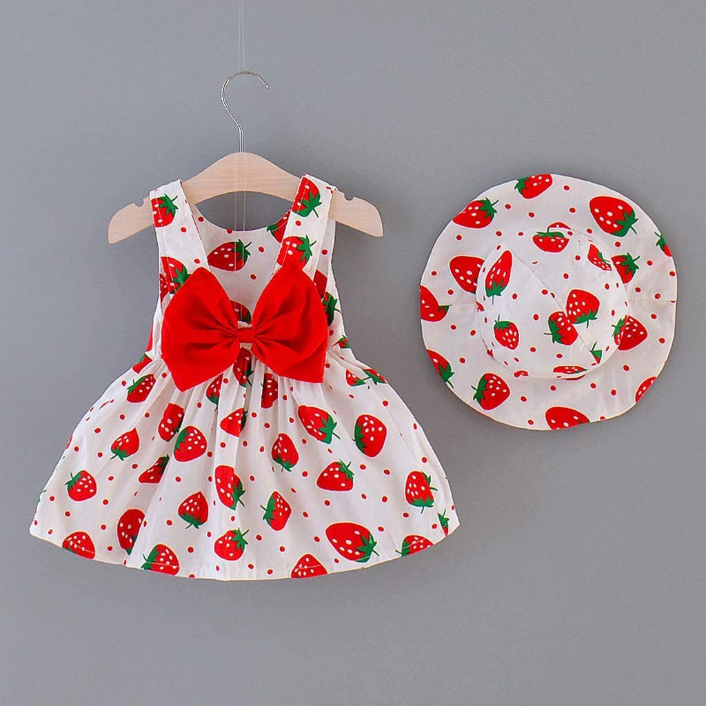 Summer 2pcs Baby Girl Outfit 6 M-3 Years Toddler Infant Kids Strawberry Bow Backless Straps Dress+Hat Clothes Set