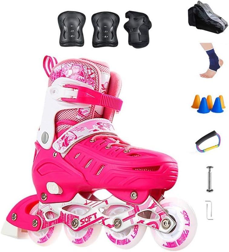 Ailj 屋外の 楽しい調整可能な照明 ガールズピンク インラインスケートコンボ ファッションスポーツフィットネス ローラーブレード 子供と初心者のための (Color : B, Size : S (EU 30-EU 34)) B S (EU 30-EU 34)