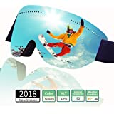 Cosyzone Ski Goggles Winter Snow Snowboard Goggles Over Glasses Anti Fog 100% UV Protection for Kids Youth Men Women