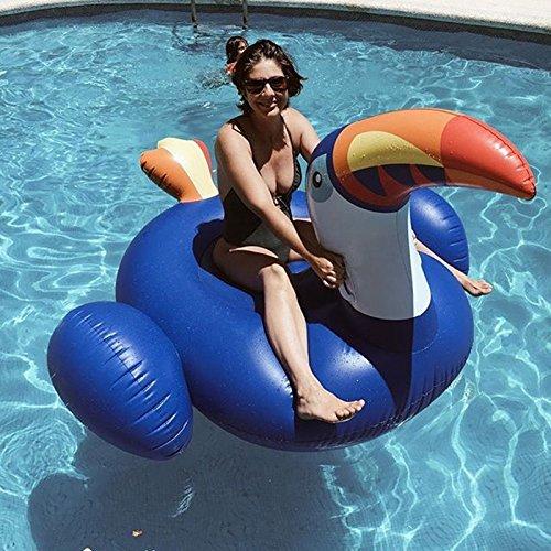 LegendsChan Aufblasbare Riesiger Tukan 200×145cm Luftmatratze Schwimmtiere Garten Pool Deko für Erwachsene Kinder, Insel für Pool Luftmatratze Wasserspielzeug